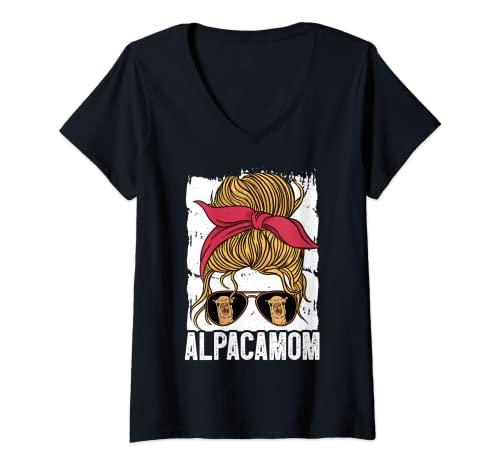 Mujer ALPACA MOM Gafas de sol Funny Alpaca Llama Lover Camiseta Cuello V