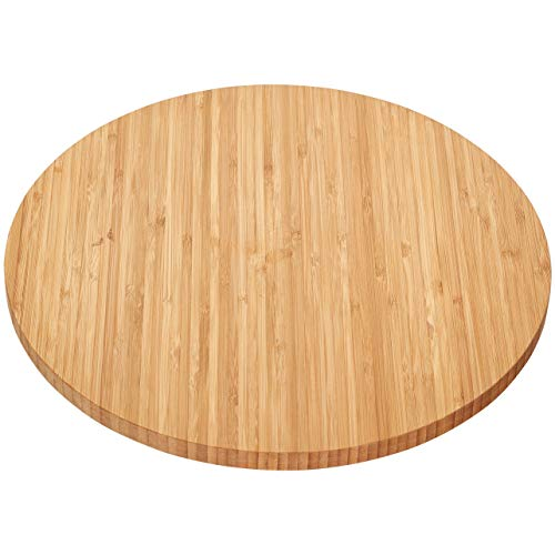 Home Intuition Bamboo Wooden Lazy Susan Turntable 135 Inch Diameter