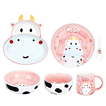 fanquare 6 Pieces Cute Cows Dinnerware Sets for Toddler,Kid,Children,Porcelain Milk Mug Cup,Plate and Bowl Set,Dinner Plates,Pink