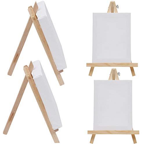 Mini caballete con lienzo mini de madera, caballete de mesa pequeño de madera, caballete de mesa, mini lienzo, mini caballete de fotos, 4 unidades, adecuado para pintar, decorar la mesa y manualidades