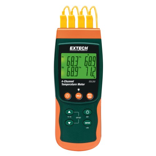 Extech SDL200 Registrador SD termómetro 4 canales
