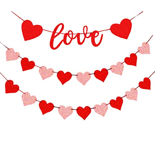 bng Heart Bunting Garlands Heart Shaped Banners Love Buntings Party Decorations for Valentine's Day Anniversary Wedding Bridal Shower Engagement Bachelorette Room Decor Red And Pink