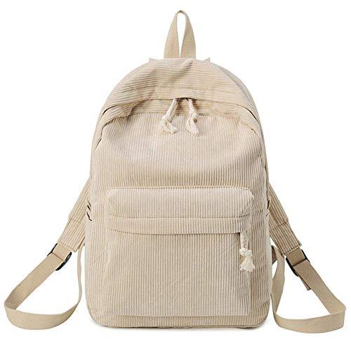 Tincocen Damen Preppy Style Rucksack Weicher Stoff Kord Schule Rucksack für Teenage Mädchen - Hellbraun