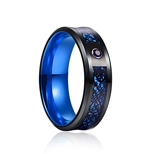 YINOX Anillo de acero rojo púrpura verde dragón luminoso anillo de acero inoxidable para hombres y mujeres (azul, 13)