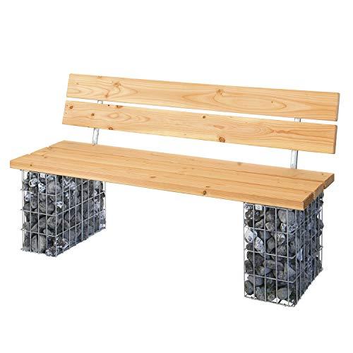 bellissa Gabionenbank COMODO - 97287 - Garten-Bank mit Sitzfläche aus Douglasien-Holz - Gabionen-Gartenbank mit Lehne - 155 x 44/53 x 45/82 cm