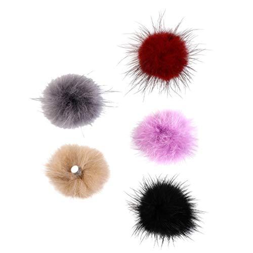 SOLUSTRE 5 Piezas DIY Faux Fur Pom Poms Ball con Botón Tachuela Desmontable Esponjoso Pom para Manicura de Los Dedos Tejer Sombreros Zapatos Bufandas Bolsa Accesorios 3X3cm Color Al Azar