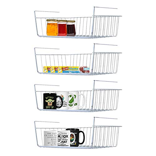 Comfecto Under Shelf Wire Basket, 4 Pack Stainless Steel Metal Hanging Storage Rack for Kitchen Cabinet Thickness Max 1.2 inch, Easy to Install Slides Under Shelves Organizer Pantry Bathroom, Chrome