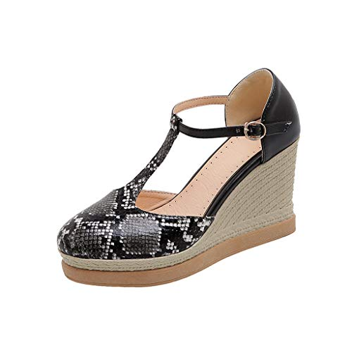 Best Review Of Aunimeifly Fashion Snake Grain Printing Hollow Wedges Round Toe Non-Slip Buckle Sanda...