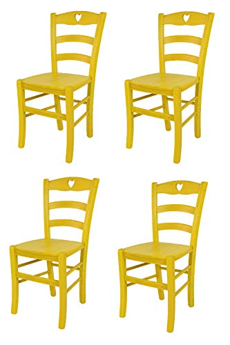 Juego de 4 sillas amarillas de madera de haya