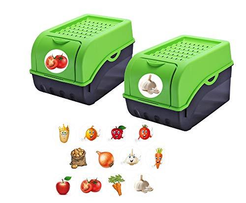 Rival 2 Stück Vorratsdose für Kartoffeln, Gemüse, Obst, Zwiebeln, Aufbewahrungsbox, Kunststoff, Volumen ca 7,7 Liter, inkl 24 Sticker