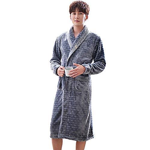 Tokyia Mantener Caliente Hombres de Franela Batas de Manga Larga del Kimono de la Ropa de Noche de la Manera cómoda Felpa Albornoces Invierno Ocasional de los Hombres Homewear, L Bata de baño
