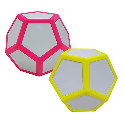 Macro Giant 6.7 Inch Dry Erase Polyhedral Foam Dice, Jumbo, Set of 2, Neon Red and Neon Yellow, 12-Sided, Magnetic, Parenting Activity, Kid Toy, Preschool, Math Learning, Team Games