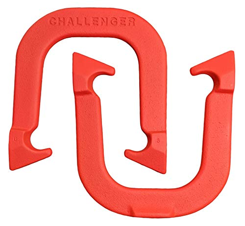 Challenger Professional Pitching Horseshoes- Made in The USA (Red- Single Pair (2 Shoes))