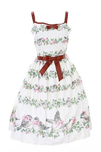 Kawaii-Story JSK-26-1 Creme Weiß Blumen Vögel Sweet Birds Pastel Goth Lolita Kleid Cosplay Kostüm Harajuku