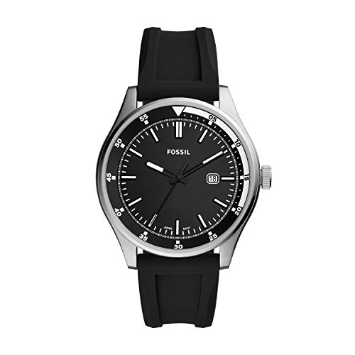 Fossil Men's Stainless Steel Quartz Silicone Strap, Black, 22 Casual Watch (Model: FS5535)