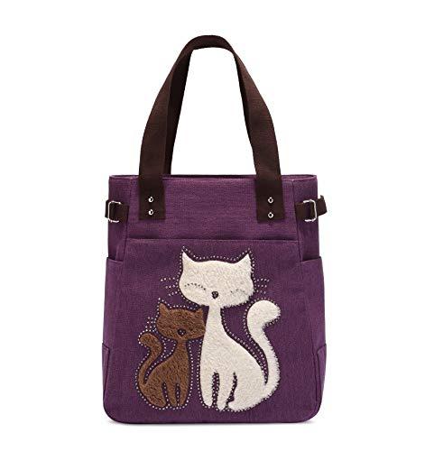 Women Canvas Handbag Kaukko Shoulder Bag Cat Big Tote Bag Purple