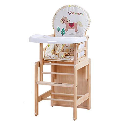 Seggiolone Seggiolone Soild Wood Regolabile Sedile Regolabile Sedia da Pranzo Sedia per Bambini Sedia per Alimentazione (Color : White Pony)