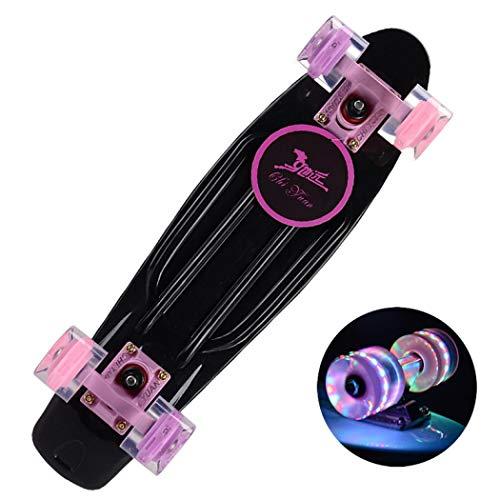 XUDREZ Kinder Penny Board Skateboard, Mini Retro Kinder Skateboards 55,9 cm Board mit High Rebound PU LED Leuchtrollen für Anfänger oder Profis Jungen Mädchen mehrere Farben (schwarz)