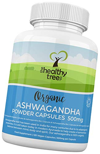 Organic Ashwagandha Capsules by TheHealthyTree Company - Vegan, 100% Natural Ayurvedic Adaptogenic Herb for Mind, Body and Spirit - 120 x 500mg Ashwagandha Root Tablets