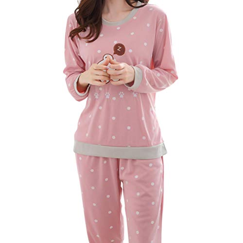 BESTOYARD Pyjamas à Manches Longues de Dessin animé Ensemble Mignon Automne vêtements de Nuit Coton vêtements de détente vêtements de détente pour Femmes Taille XL