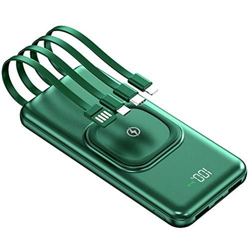 HJKPM Power Bank De 20000Mah, Batería Súper Externa con 4 Cables De Carga Diferentes Adopta Un Diseño De Tela Antideslizante Soporte De Carga Inalámbrica,Verde
