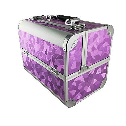 AUFUN Kosmetikkoffer mit 2 Klappschlössern Groß Schminkkoffer für Gepäck XL 320 * 210 * 260mm Make-up Case aus Alu, Edelstahl (17L, Lila)