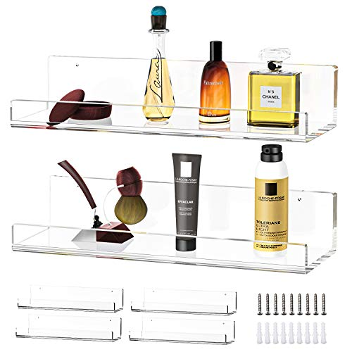 MaxGear 4 Pack Clear Acrylic Floating Display Shelves for Wall, 15 inches Long Wall Mount Kids Bookshelf, Hanging Shelf Book Shelves for Bathroom, Bedroom, Living Room Wall Decor, 15 x 4.5 inches