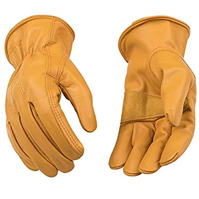 Kinco - Unlined Cowhide Leather Work Gloves, Heavy Duty Reinforced Palm, Extremely Durable, Easy-On Cuff, Fitted Elastic Wrist, (Style No. 198)