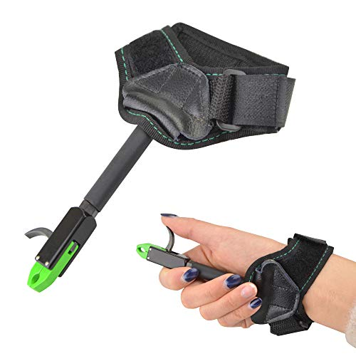SHARROW Archery Release Aid Compound Bow Wrist Release Children Trigger Caliper Adjustable Nylon Wrist Strap Youth Quick Release Tool for Hunting Shooting Accessory