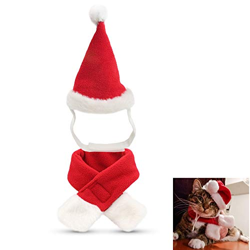IXIAOPET Cat Santa Christmas Hat, Head Wear Accesories Christmas Costume Outfits for Pet Dog Cat Rabbit