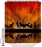 XXzhang Caballos Sunset Lake Pastizales Cortina de Ducha Tela de baño Aseo Decoración de Estilo Simple Cortinas de Ducha Cortinas de Ducha para baño 72X72 Pulgadas