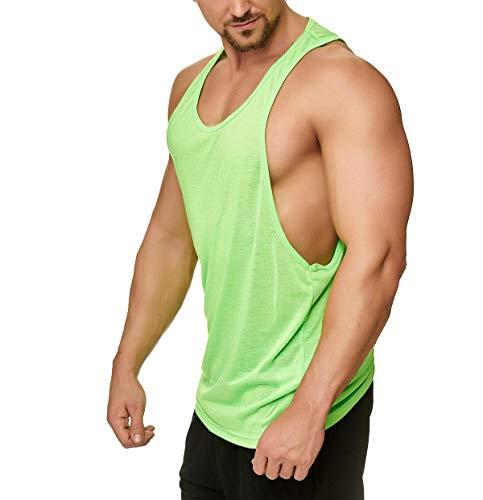 Muscle Shirt Herren Tank Top Achselshirt mit tief geschnittenem Armausschnitt Neon Grün, Größe:M