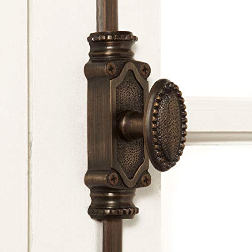 Signature Hardware 920742 Beaded Solid Brass Cremone Bolt for 6' Windows