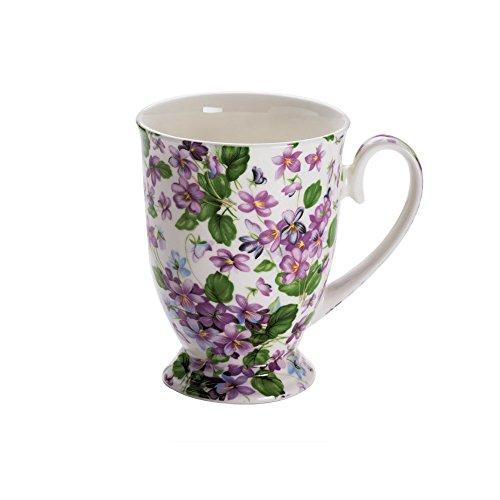 Maxwell & Williams S56961 Royal Old England Becher auf Fuß, Kaffeebecher, Tasse, Motiv: Veilchen, in Geschenkbox, Porzellan
