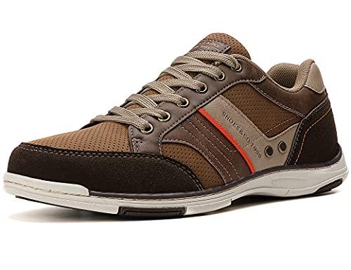 AX BOXING Zapatillas Hombres Deporte Running Sneakers Zapatos para Correr Gimnasio Deportivas Padel Transpirables Casual(46 EU, Marrón)