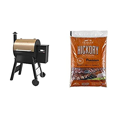 Traeger Grills TFB57GZEO Pro Series 575 Grill, Smoker, Bronze & PEL319 Hickory 100% All-Natural Hardwood Grill Pellets