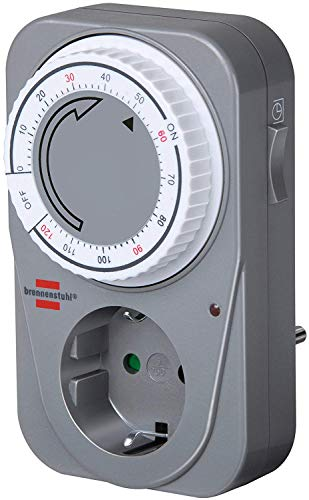 Brennenstuhl Countdown Timer MC 120, mechanische Timer-Steckdose (Timer für Steckdose mit Countdown Funktion und erhöhtem Berührungsschutz) grau