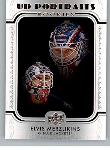 2019-20 Upper Deck Series 2 Hockey Portraits #P-91 Elvis Merzlikins Columbus Blue Jackets RC Rookie Official NHL UD Trading Card