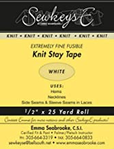 """White - 1/2"""" Fusible Knit Stay Tape - 0.5"""" X 25 Yards SewkeysE Extremely Fine Knit Interfacing Sold by The 25 Yard Roll (K..."""