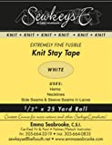 White - 1/2' Fusible Knit Stay Tape - 0.5' X 25 Yards SewkeysE Extremely Fine Knit Interfacing Sold by The 25 Yard Roll (KST-01) M494.09
