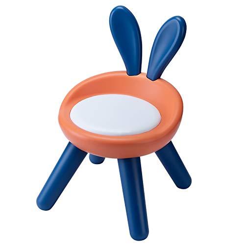 Camisin - Sgabello in plastica con supporto per la schiena, antiscivolo, con 4 piedi, per bambini e bambini, con sedia a forma di coniglio, colore: arancione