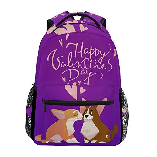 NA Casual Schulrucksack Happy Valentines Day Kiss Corgi Hunde Paar Leicht Reise Daypack College Schultertasche für Frauen Mädchen Teenager