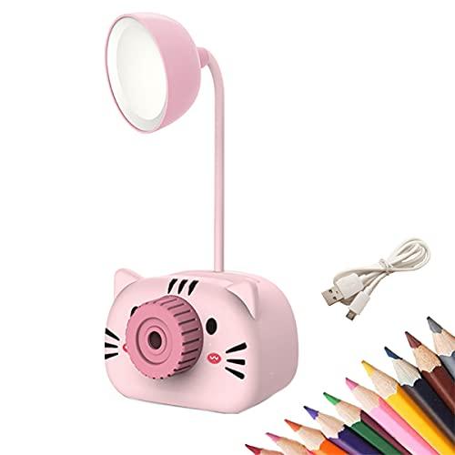 KUMADAI LáMpara Escritorio LED, Flexo LED Escritorio con Organizador y Sacapuntas 3 Niveles de Brillo USB Recargables Regulable para Escritorio Oficina Hogar,Rosado