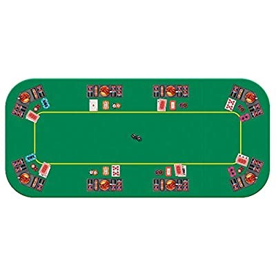 VIVOHOME 79 x 36 Inch Foldable 8-Player Texas Poker Card Tabletop Layout Portable Anti-Slip Rubber Board Game Mat with Cup Holders and Carrying Bag