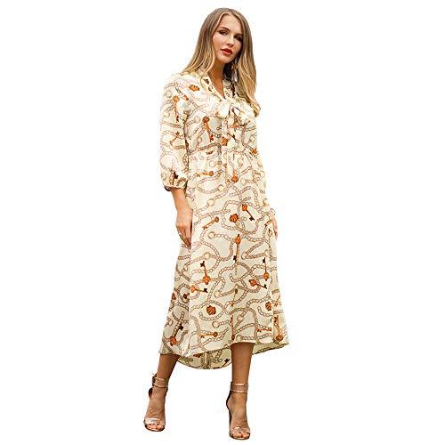 TYJKL Vestidos De Mujer Playa Ocasional del Verano de la Falda Larga de Las Mujeres Vestido de la Raja del Lado Alineada de la impresión Informal Y Cómodo (Color : Beige, Size : XL)