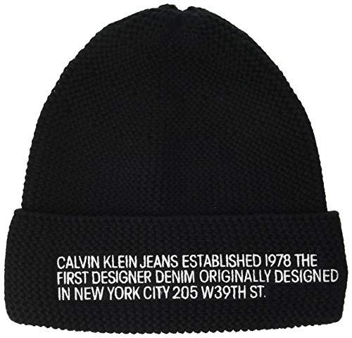 Calvin Klein Damen Beanie EST Hut, Schwarz, Einheitsgröße
