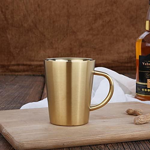 Jarro de Cerveza 34 0ML Copa de café de Doble Pisco de Acero Inoxidable Taza de Cerveza al Aire Libre Taza de Agua Taza de café para Suministros de Cocina o Suministros de Barras (Color : Golden)