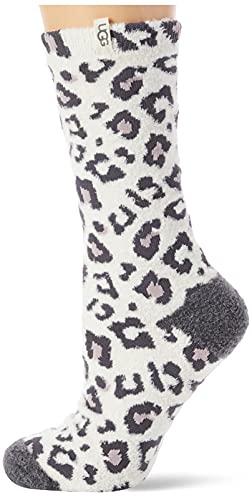 UGG Damen W Leslie Graphic Crew Socken, Cremefarbenes Leopardenmuster, One Size