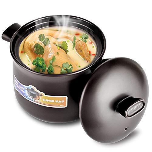 Xnxn Pot en Terre Cuite Ronde, cocotte en céramique Pot en Argile Pot à Soupe avec Couvercle Casserole résistante à la Chaleur pour Une Cuisson Lente Noir 4,5L