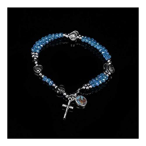AdorabFruit Jesucristo Mini Rosario católico 4mm Regalos de Cristal Azul Pulsera del Rosario y el Grano de comunión for niños Blessed Virgin Mary Rose Bautismo (Metal Color : CZSJ024)